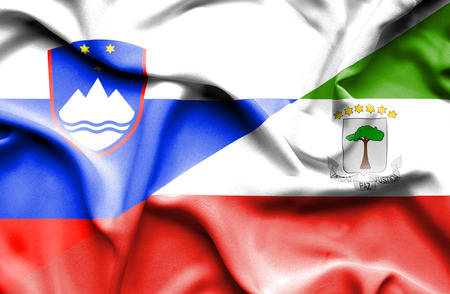 slovenia: Waving flag of Equatorial Giuinea and Slovenia