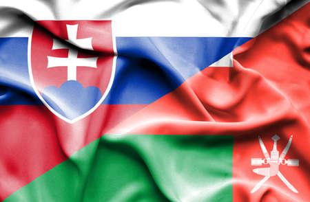 slovak: Waving flag of Oman and Slovak Stock Photo