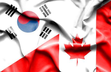 canadian: Waving flag of Canada and South Korea Stock Photo