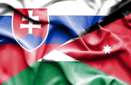 jordan: Waving flag of Jordan and Slovak