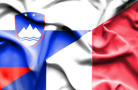 slovenia: Waving flag of France and Slovenia Stock Photo