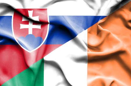 slovak: Waving flag of Ireland and Slovak
