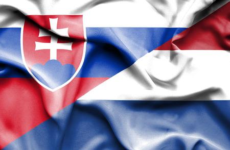 slovak: Waving flag of Netherlands and Slovak