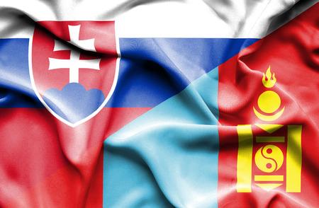 mongolia: Waving flag of Mongolia and Slovak Stock Photo