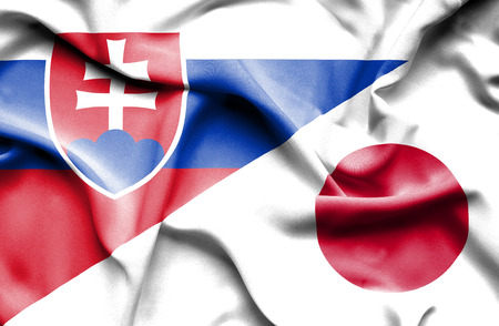 slovak: Waving flag of Japan and Slovak