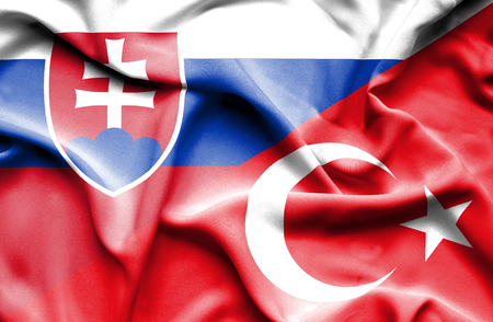 slovak: Waving flag of Turkey and Slovak