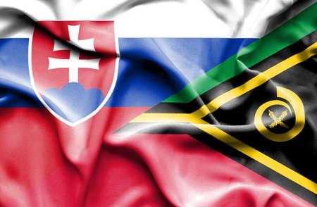 slovak: Waving flag of Vanuatu and Slovak Stock Photo
