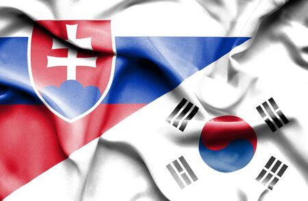 slovak: Waving flag of South Korea and Slovak Stock Photo