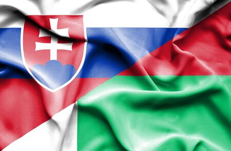 slovak: Waving flag of Madagascar and Slovak