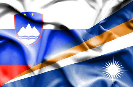 marshall: Waving flag of Marshall Islands and Slovenia Stock Photo