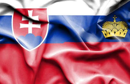 lichtenstein: Waving flag of Lichtenstein and Slovak