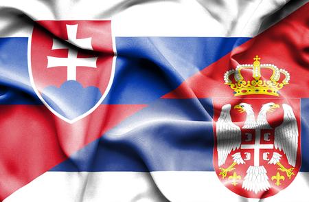 serbia: Waving flag of Serbia and Slovak Stock Photo