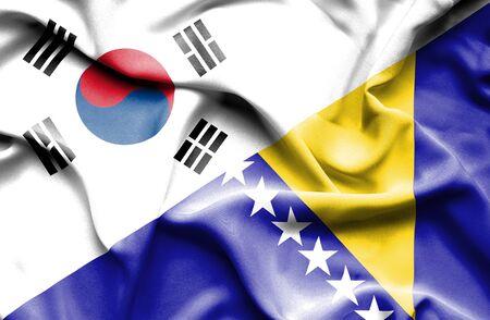 bosnian: Waving flag of Bosnia and Herzegovina and South Korea