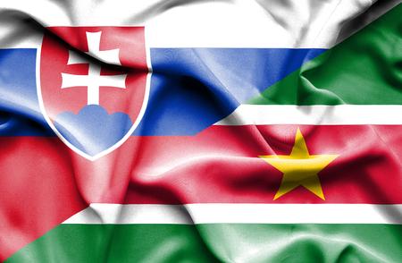 slovak: Waving flag of Suriname and Slovak