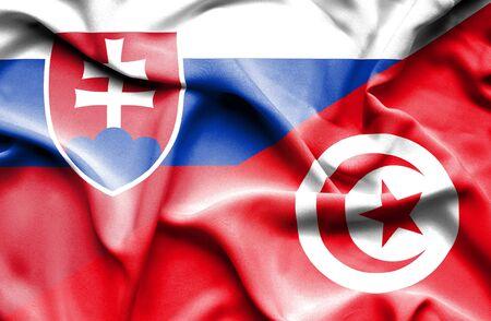 slovak: Waving flag of Tunisia and Slovak