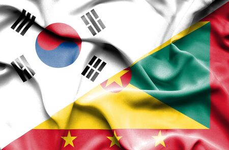 guernsey: Waving flag of Guernsey and South Korea