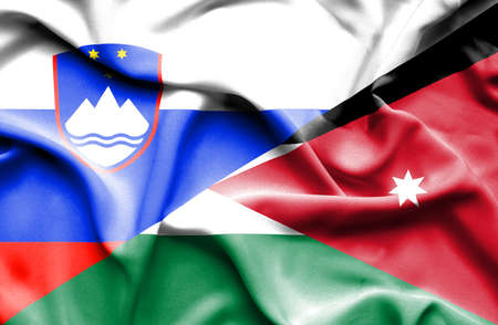 jordan: Waving flag of Jordan and Slovenia