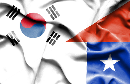 south korea: Waving flag of Chile and South Korea