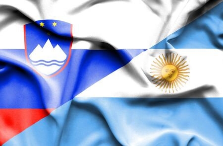 slovenia: Waving flag of Argentina and Slovenia