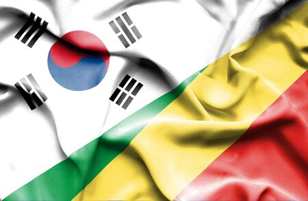 republic of korea: Waving flag of Congo Republic and South Korea