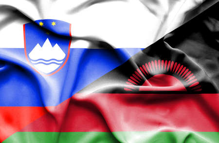 slovenia: Waving flag of Malawi and Slovenia Stock Photo