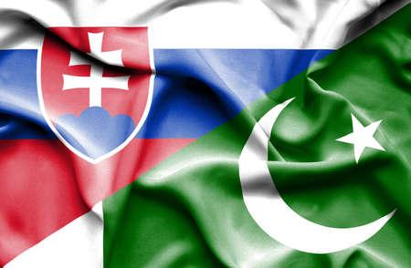 slovak: Waving flag of Pakistan and Slovak