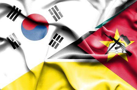 south korea: Waving flag of Mozambique and South Korea