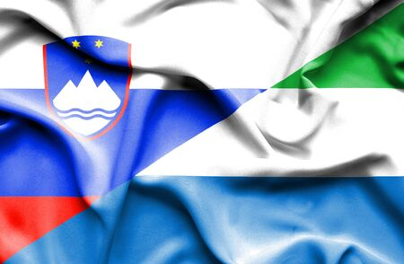 slovenia: Waving flag of Sierra Leone and Slovenia