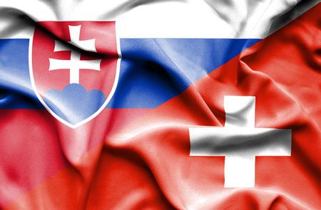 slovak: Waving flag of Switzerland and Slovak