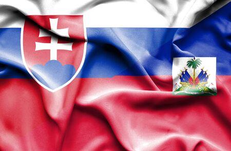 haiti: Waving flag of Haiti and Slovak