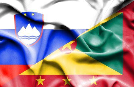 guernsey: Waving flag of Guernsey and Slovenia