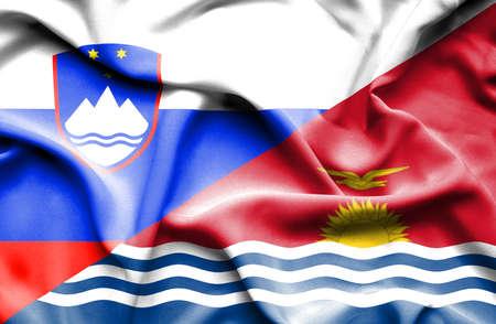 kiribati: Waving flag of Kiribati and Slovenia