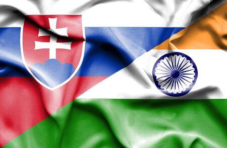 slovak: Waving flag of India and Slovak Stock Photo
