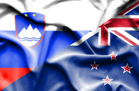 slovenia: Waving flag of New Zealand and Slovenia