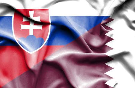 slovak: Waving flag of Qatar and Slovak Stock Photo