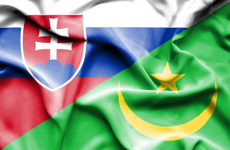 slovak: Waving flag of Mauritania and Slovak Stock Photo