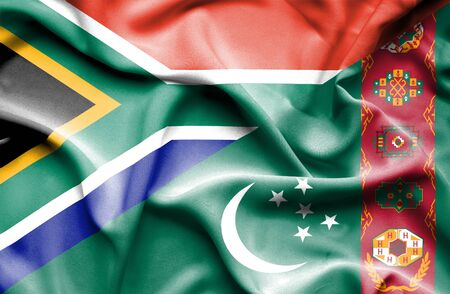 turkmenistan: Waving flag of Turkmenistan and South Africa
