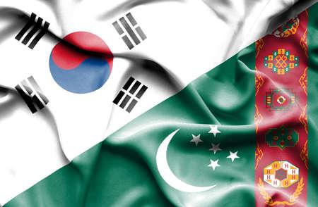 south korea: Waving flag of Turkmenistan and South Korea Stock Photo