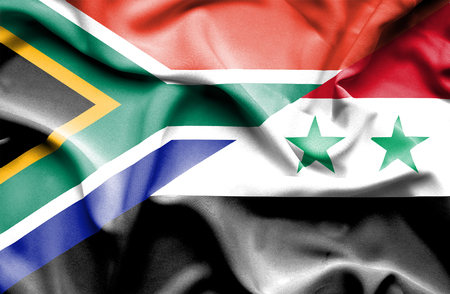 syria peace: Waving flag of Syria and South Africa