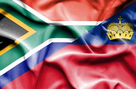 lichtenstein: Waving flag of Lichtenstein and South Africa