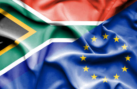 european union: Waving flag of European Union and South Africa