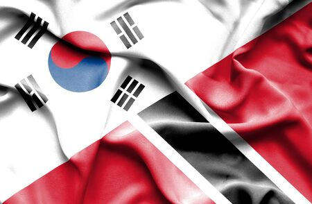 trinidad and tobago: Waving flag of Trinidad and Tobago and South Korea Stock Photo