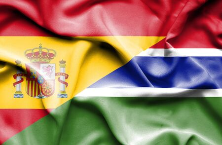 gambia: Waving flag of Gambia and Spain