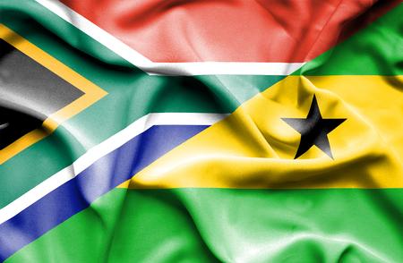 principe: Ondeando la bandera de Santo Tomé y Príncipe y Sudáfrica