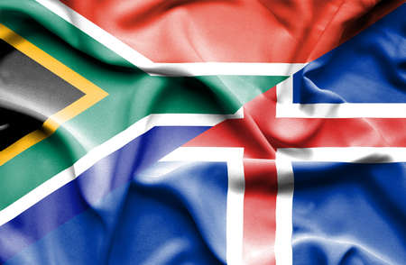 iceland: Waving flag of Iceland and South Africa Stock Photo