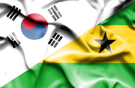 principe: Ondeando la bandera de Santo Tomé y Príncipe y Corea del Sur Foto de archivo
