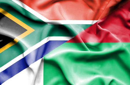 madagascar: Waving flag of Madagascar and South Africa Stock Photo