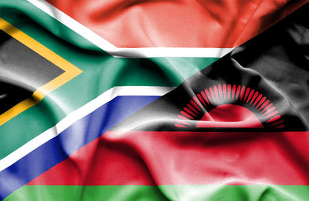 malawian flag: Waving flag of Malawi and South Africa