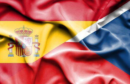 the czech republic: Waving flag of Czech Republic and Spain