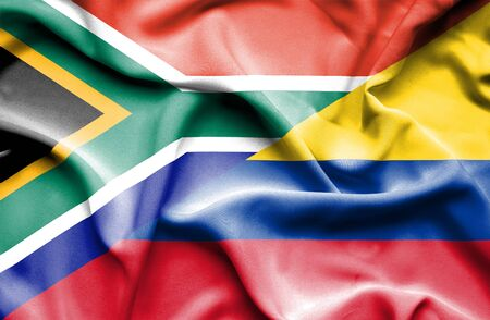 columbia: Waving flag of Columbia and South Africa